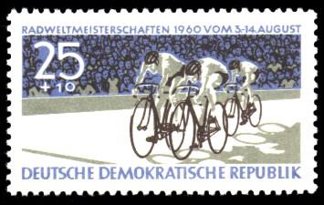 25 + 10 Pf Briefmarke: Radweltmeisterschaften