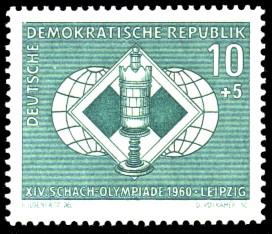 10 + 5 Pf Briefmarke: XIV. Schacholympiade Leipzig