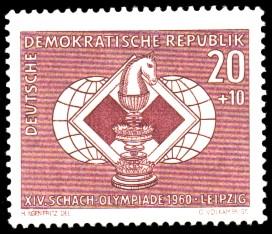 20 + 10 Pf Briefmarke: XIV. Schacholympiade Leipzig