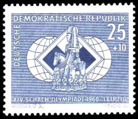25 + 10 Pf Briefmarke: XIV. Schacholympiade Leipzig