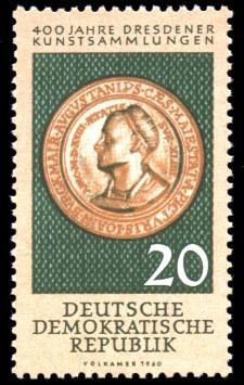 20 Pf Briefmarke: 400 Jahre Dresdener Kunstsammlungen