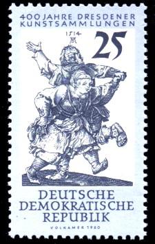 25 Pf Briefmarke: 400 Jahre Dresdener Kunstsammlungen
