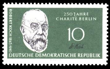 10 Pf Briefmarke: 150 Jahre Humboldt-Universität zu Berlin / 250 Jahre Charité Berlin