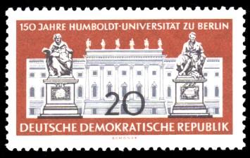 20 Pf Briefmarke: 150 Jahre Humboldt-Universität zu Berlin / 250 Jahre Charité Berlin