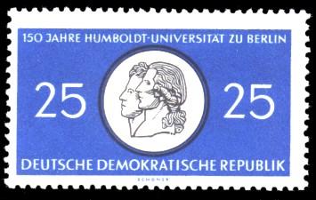 25 Pf Briefmarke: 150 Jahre Humboldt-Universität zu Berlin / 250 Jahre Charité Berlin