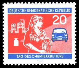 20 Pf Briefmarke: Tag des Chemiearbeiters