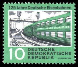 10 Pf Briefmarke: 125 Jahre Deutsche Eisenbahnen