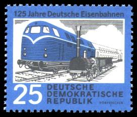 25 Pf Briefmarke: 125 Jahre Deutsche Eisenbahnen