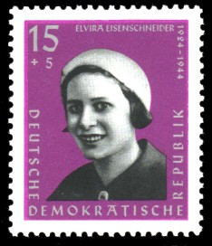 15 + 5 Pf Briefmarke: Antifaschisten, Elvira Eisenschneider