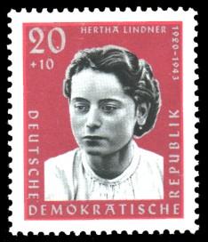 20 + 10 Pf Briefmarke: Antifaschisten, Hertha Lindner