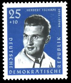 25 + 10 Pf Briefmarke: Antifaschisten, Herbert Tschäpe