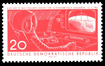 20 Pf Briefmarke: 1. Weltraumflug Gagarin