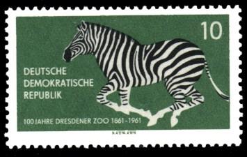 10 Pf Briefmarke: 100 Jahre Dresdener Zoo, Zebra