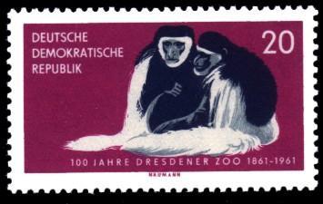 20 Pf Briefmarke: 100 Jahre Dresdener Zoo, Affen