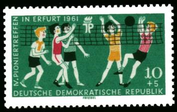 10 + 5 Pf Briefmarke: IV. Pioniertreffen in Erfurt 1961