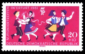 20 + 10 Pf Briefmarke: IV. Pioniertreffen in Erfurt 1961