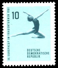 10 Pf Briefmarke: Frauenturnen, III. Europacup in Leipzig 1961