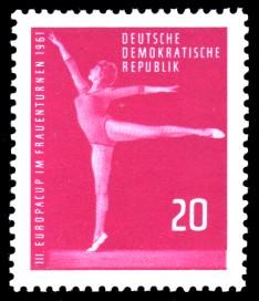 20 Pf Briefmarke: Frauenturnen, III. Europacup in Leipzig 1961