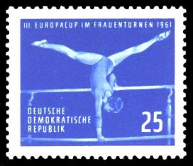 25 Pf Briefmarke: Frauenturnen, III. Europacup in Leipzig 1961