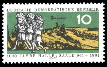 10 Pf Briefmarke: 1000 Jahre Halle/Saale