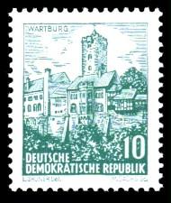 10 Pf Briefmarke: Landschaften und historische Bauten