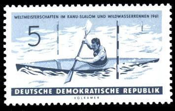 5 Pf Briefmarke: Weltmeisterschaften im Kanu-Slalom und Wildwasserrennen 1961