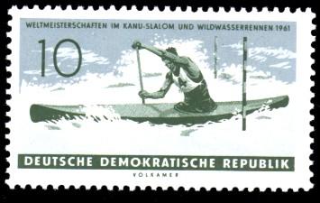 10 Pf Briefmarke: Weltmeisterschaften im Kanu-Slalom und Wildwasserrennen 1961