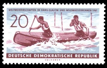 20 Pf Briefmarke: Weltmeisterschaften im Kanu-Slalom und Wildwasserrennen 1961
