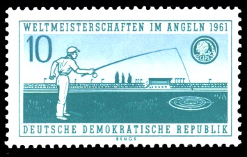 10 Pf Briefmarke: Weltmeisterschaften im Angeln 1961