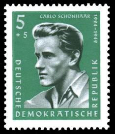 5 + 5 Pf Briefmarke: Antifaschisten, Carlo Schönhaar