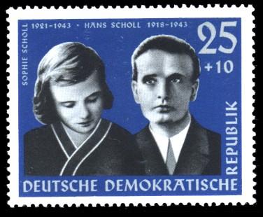 25 + 10 Pf Briefmarke: Antifaschisten, Hans und Sophie Scholl