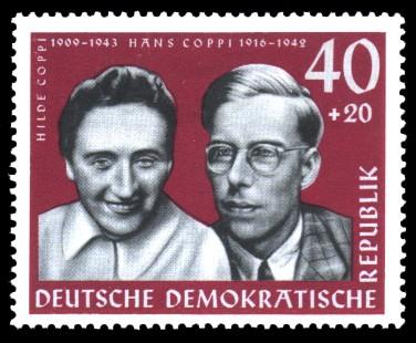 40 + 20 Pf Briefmarke: Antifaschisten, Hilde und Hans Coppi
