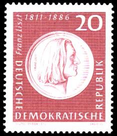 20 Pf Briefmarke: 150. Geburtstag Franz Liszt