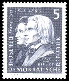 5 Pf Briefmarke: 150. Geburtstag Franz Liszt