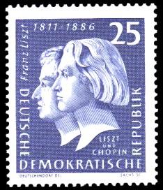 25 Pf Briefmarke: 150. Geburtstag Franz Liszt
