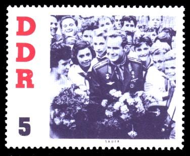 5 Pf Briefmarke: DDR-Besuch von German Titow, sowjetischer Kosmonaut