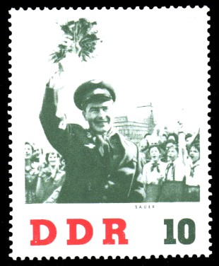 10 Pf Briefmarke: DDR-Besuch von German Titow, sowjetischer Kosmonaut