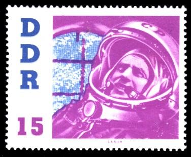 15 Pf Briefmarke: DDR-Besuch von German Titow, sowjetischer Kosmonaut