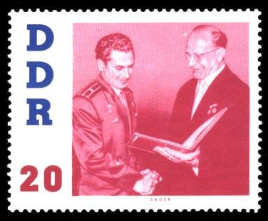 20 Pf Briefmarke: DDR-Besuch von German Titow, sowjetischer Kosmonaut