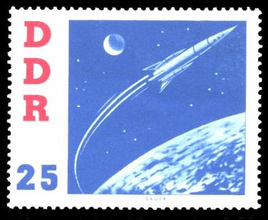 25 Pf Briefmarke: DDR-Besuch von German Titow, sowjetischer Kosmonaut