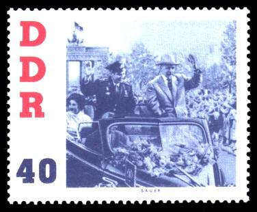 40 Pf Briefmarke: DDR-Besuch von German Titow, sowjetischer Kosmonaut