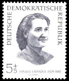 5 + 5 Pf Briefmarke: internationale Antifaschisten, Danielle Casanova