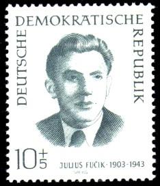 10 + 5 Pf Briefmarke: internationale Antifaschisten, Julius Fucik