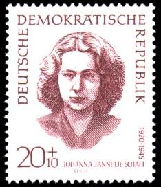20 + 10 Pf Briefmarke: internationale Antifaschisten, Johanna Jannetje Schaft