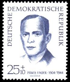 25 + 10 Pf Briefmarke: internationale Antifaschisten, Pawel Finder