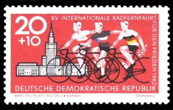 20 + 10 Pf Briefmarke: XV. Internationale Radfernfahrt für den Frieden 1962