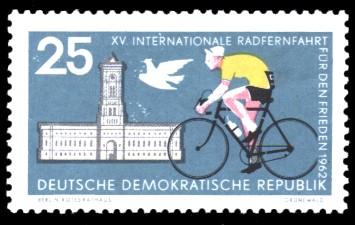 25 Pf Briefmarke: XV. Internationale Radfernfahrt für den Frieden 1962