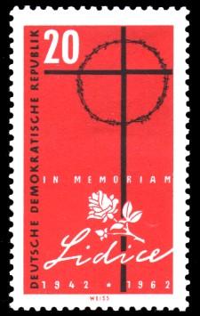 20 Pf Briefmarke: 20. Jahrestag der Zerstörung von Lidice