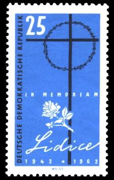 25 Pf Briefmarke: 20. Jahrestag der Zerstörung von Lidice