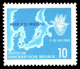 10 Pf Briefmarke: 5. Ostseewoche in Rostock 1962